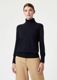 Adela Cashmere Sweater, Navy, hi-res