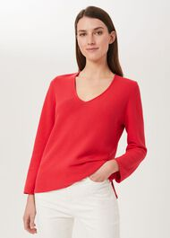 Blanche Cotton Jumper, Coral Red, hi-res