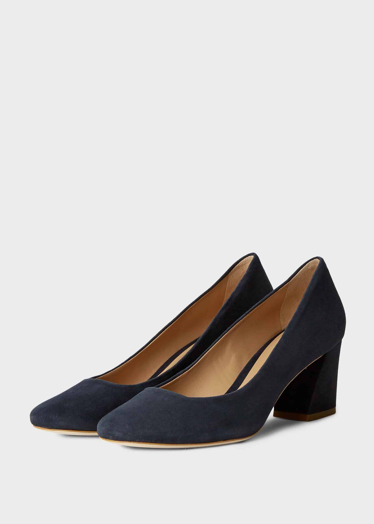Laura Suede Block Heel Court Shoes Navy