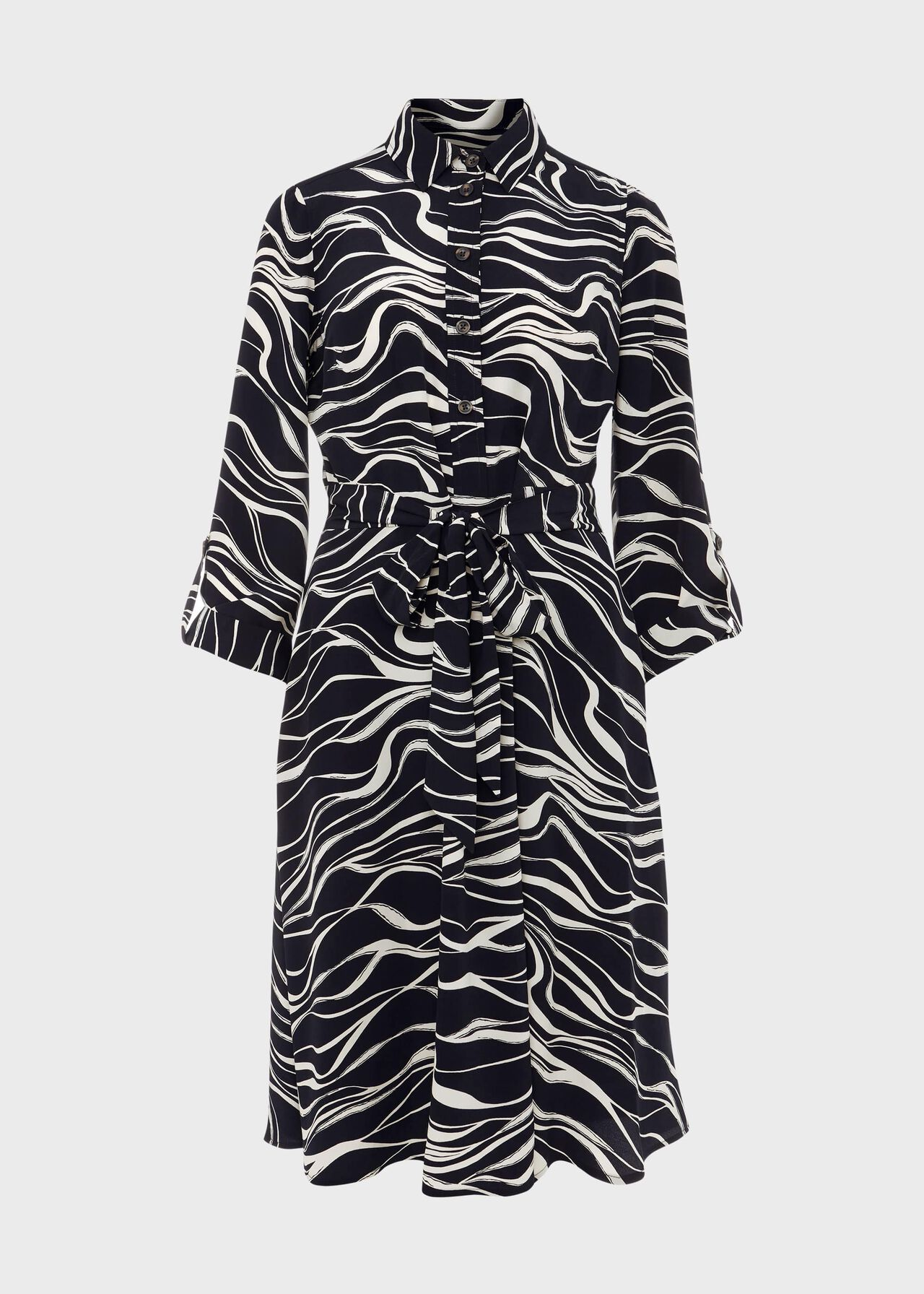 Clarice Printed Shirt Dress, Navy Buttrcream, hi-res