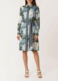 Hydrangea Shirt Dress, Blue Multi, hi-res