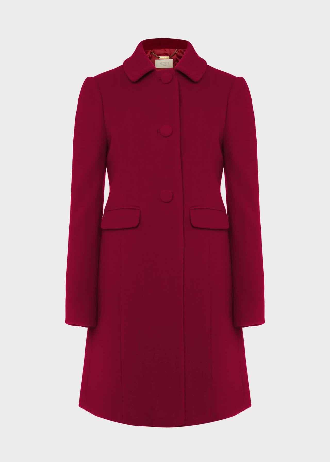 Anita Wool Blend A Line Coat Dark Raspberry