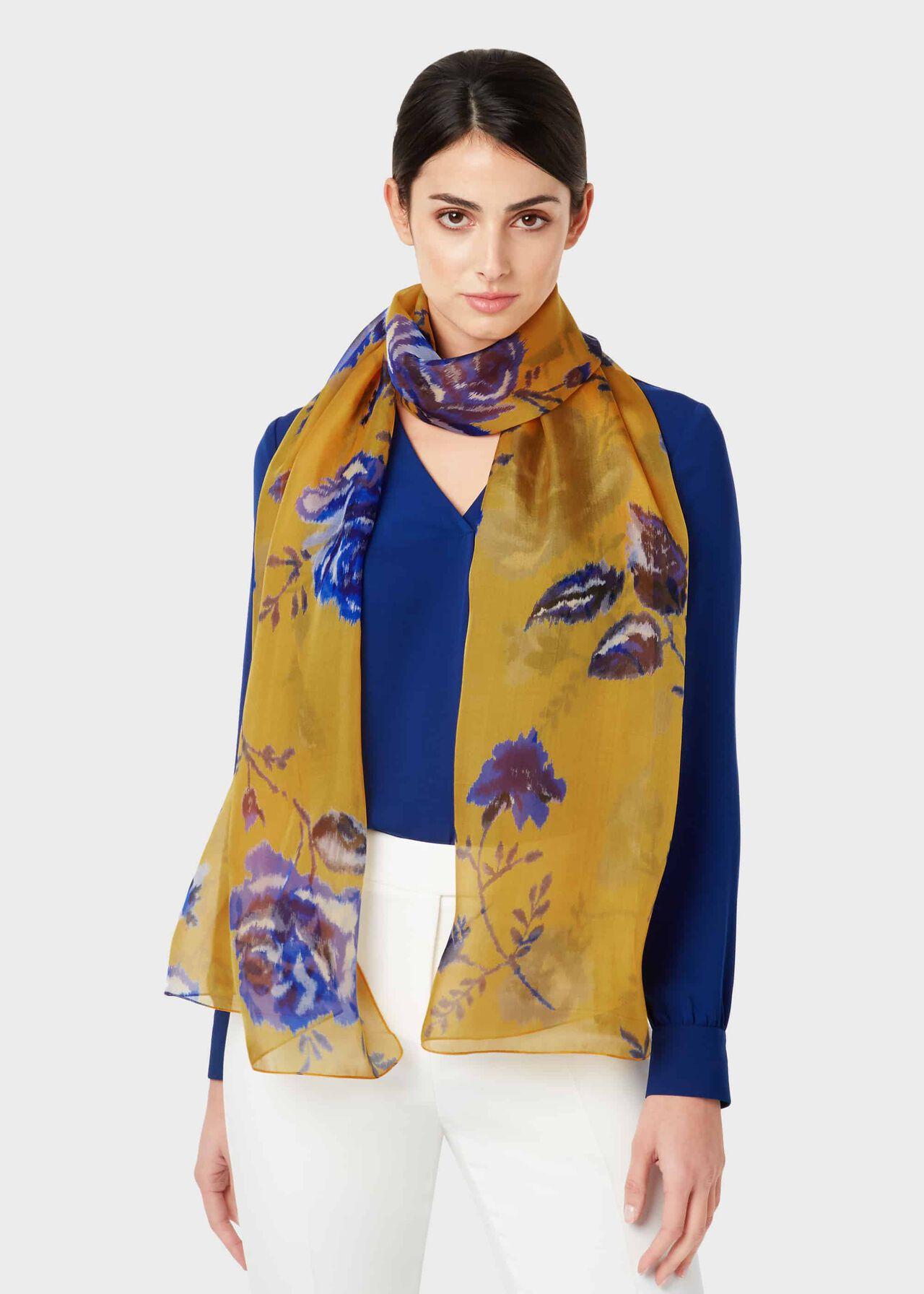Roselind Silk Scarf, Yellow, hi-res