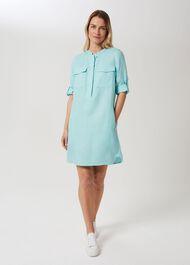Milla Linen Blend Tunic Dress, Aqua, hi-res