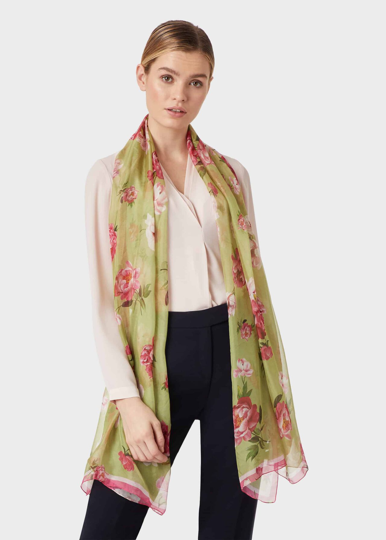 Margot Silk Scarf, Green, hi-res