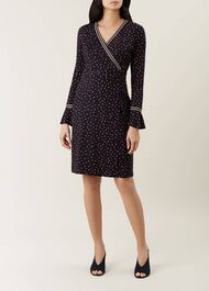 Melanie Dress, Navy Multi, hi-res