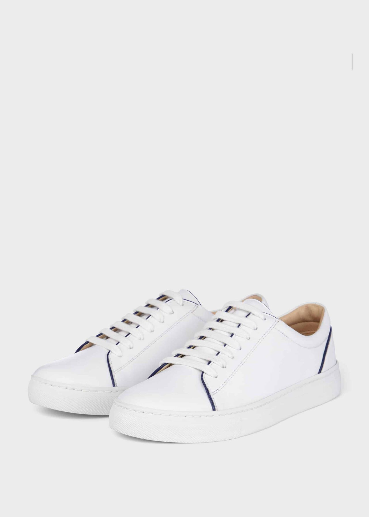 Freda Leather Trainers, White Navy, hi-res