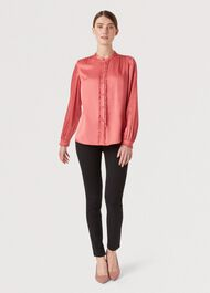 Esther Satin Blouse, Pink, hi-res
