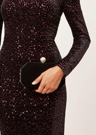 Felicity Velvet Clutch Bag, Black, hi-res