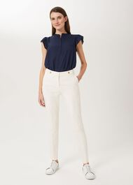 Jasmine Cotton Blend Tapered Trousers, Warm Ivory, hi-res