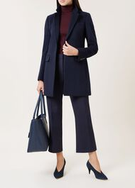 Tia Wool Blend Coat, Navy, hi-res