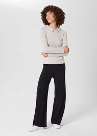Naomi Knitted Trouser, Navy, hi-res