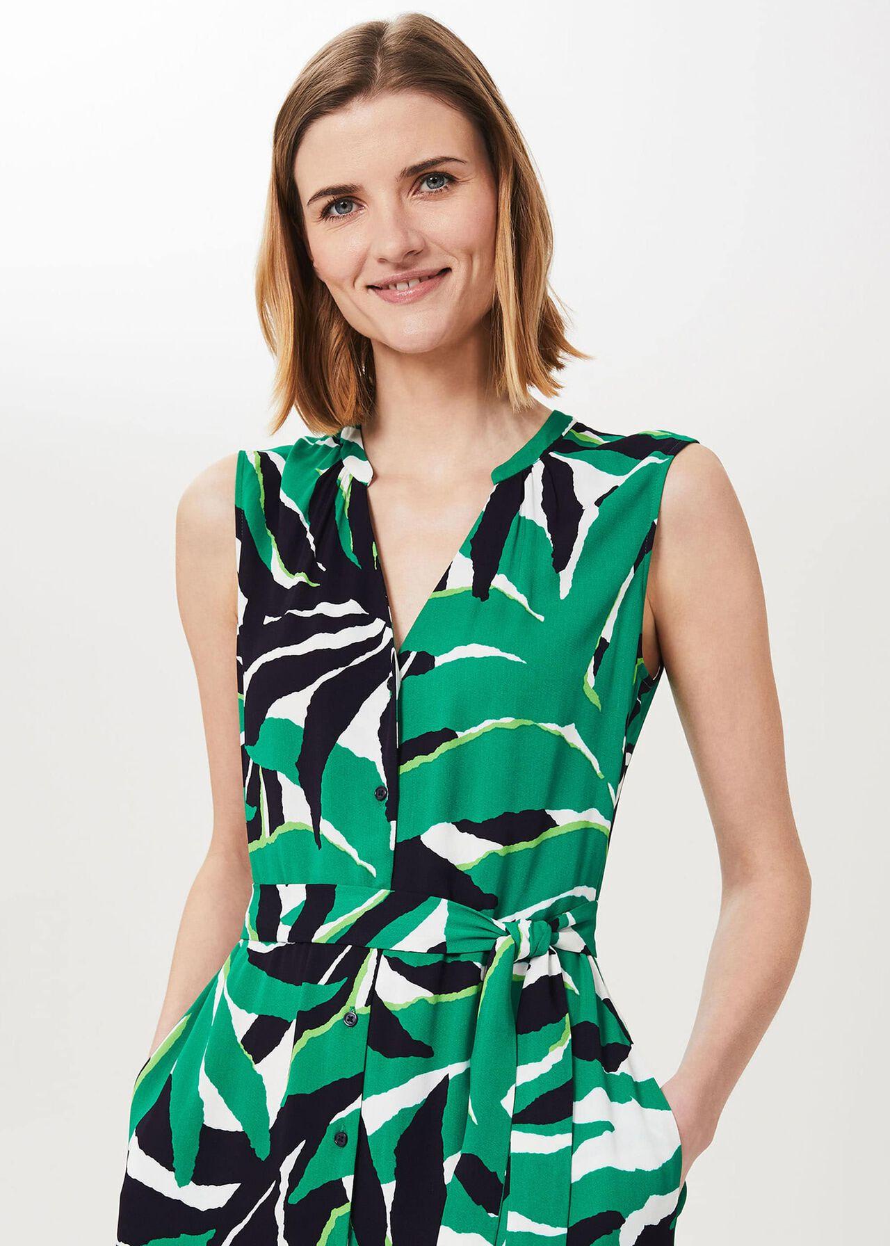 Laurenza Printed Midi Dress, Green Multi, hi-res