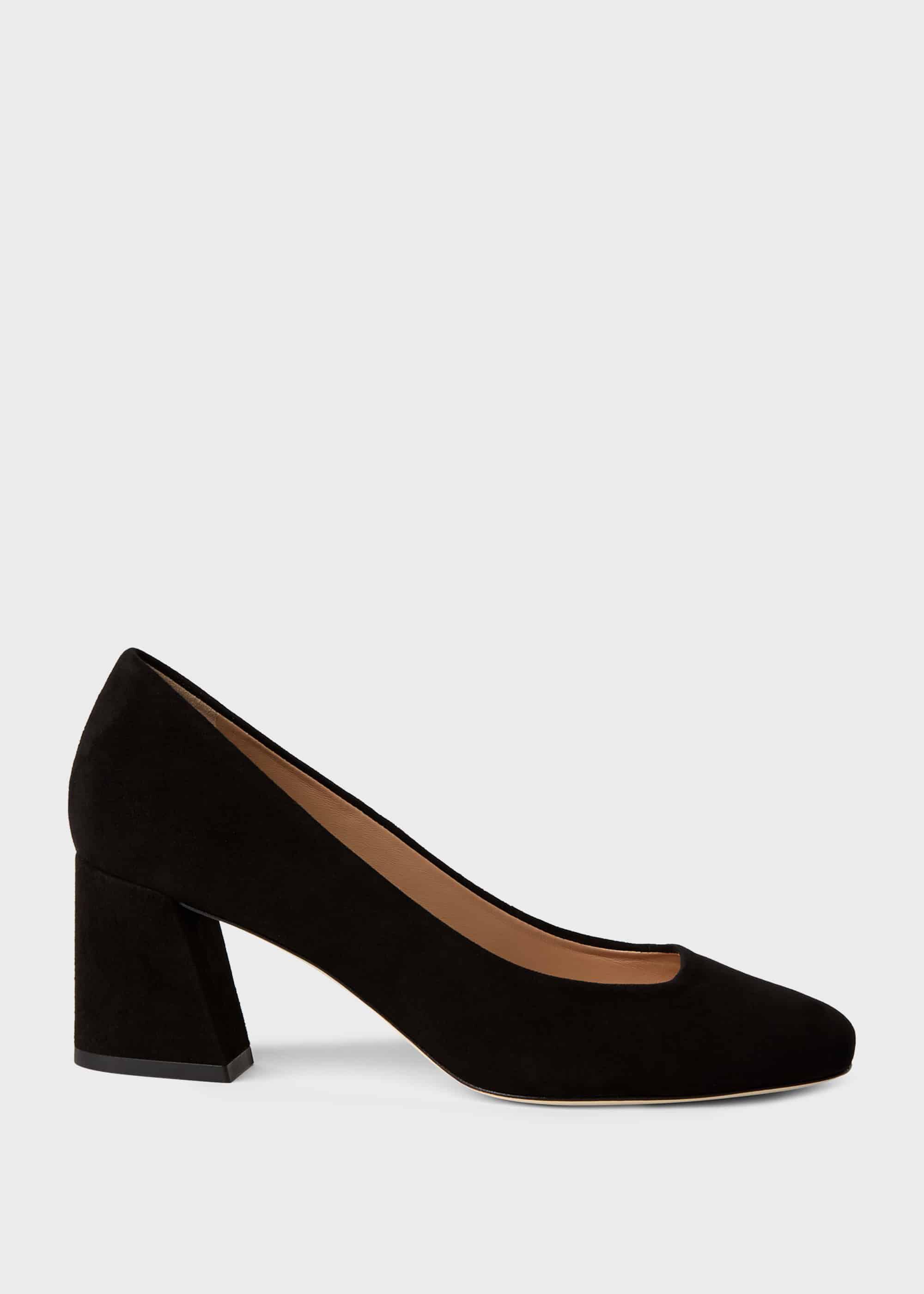 Laura Suede Block Heel Court Shoes | Hobbs