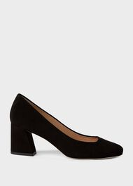 Laura Suede Block Heel Court Shoes, Black, hi-res