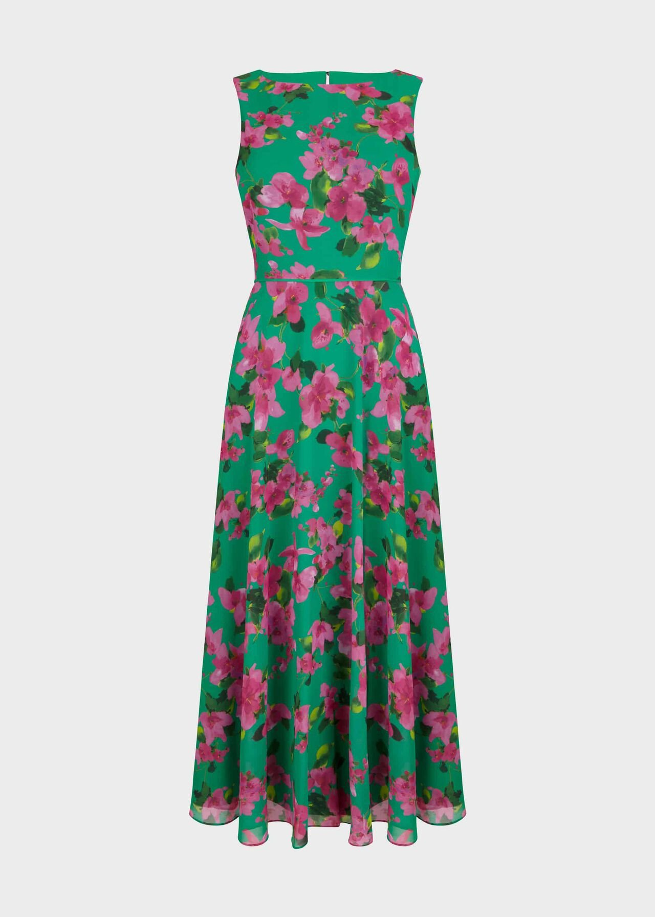Carly Floral Midi Dress Fld Grn Fschia