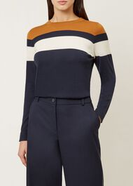 Kerri Merino Wool Sweater, Navy Multi, hi-res
