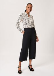 Lula Cropped Trousers With Stretch, Black, hi-res