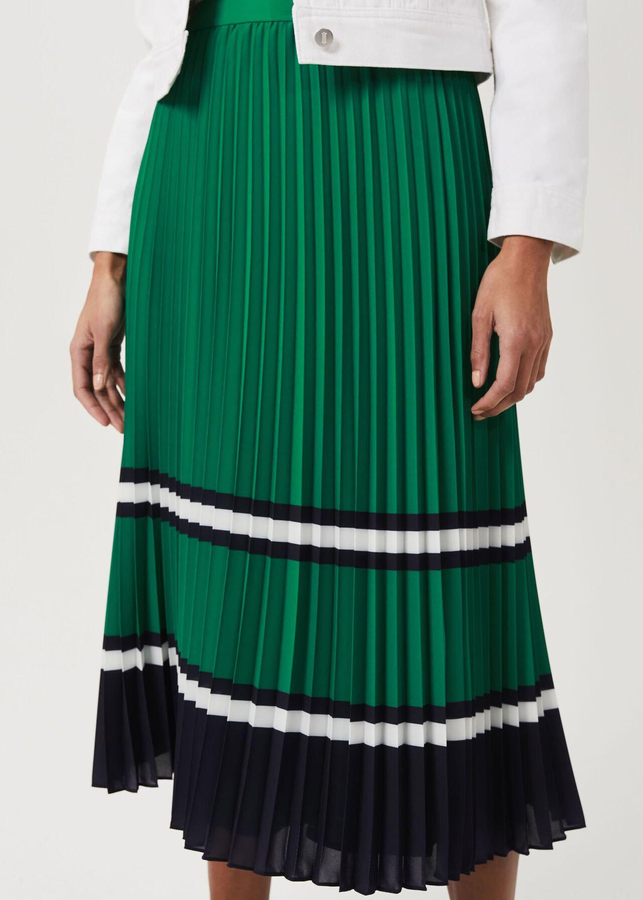 Bess Pleated Midi Skirt, Green Multi, hi-res