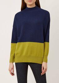 Cydney Cashmere Sweater, Navy Green, hi-res