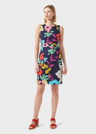 Allison Cotton Blend Floral Shift Dress, Navy Multi, hi-res