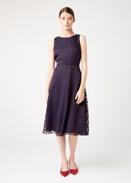 Adeline Dress, Navy Burgundy, hi-res