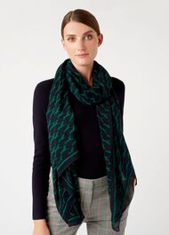 Horse Scarf, Navy Green, hi-res