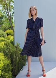 Mae Jacquard Spot Shirt Dress, Navy Ivory, hi-res