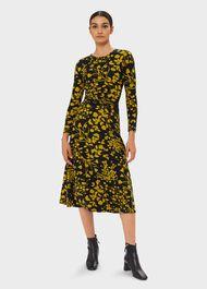 Bayview Midi Dress, Navy Chartreuse, hi-res