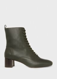Issy Leather Lace Up Ankle Boots, Dark Green, hi-res