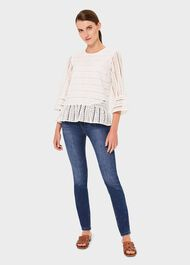 Emelie Cotton Embroidered Top, Ivory, hi-res
