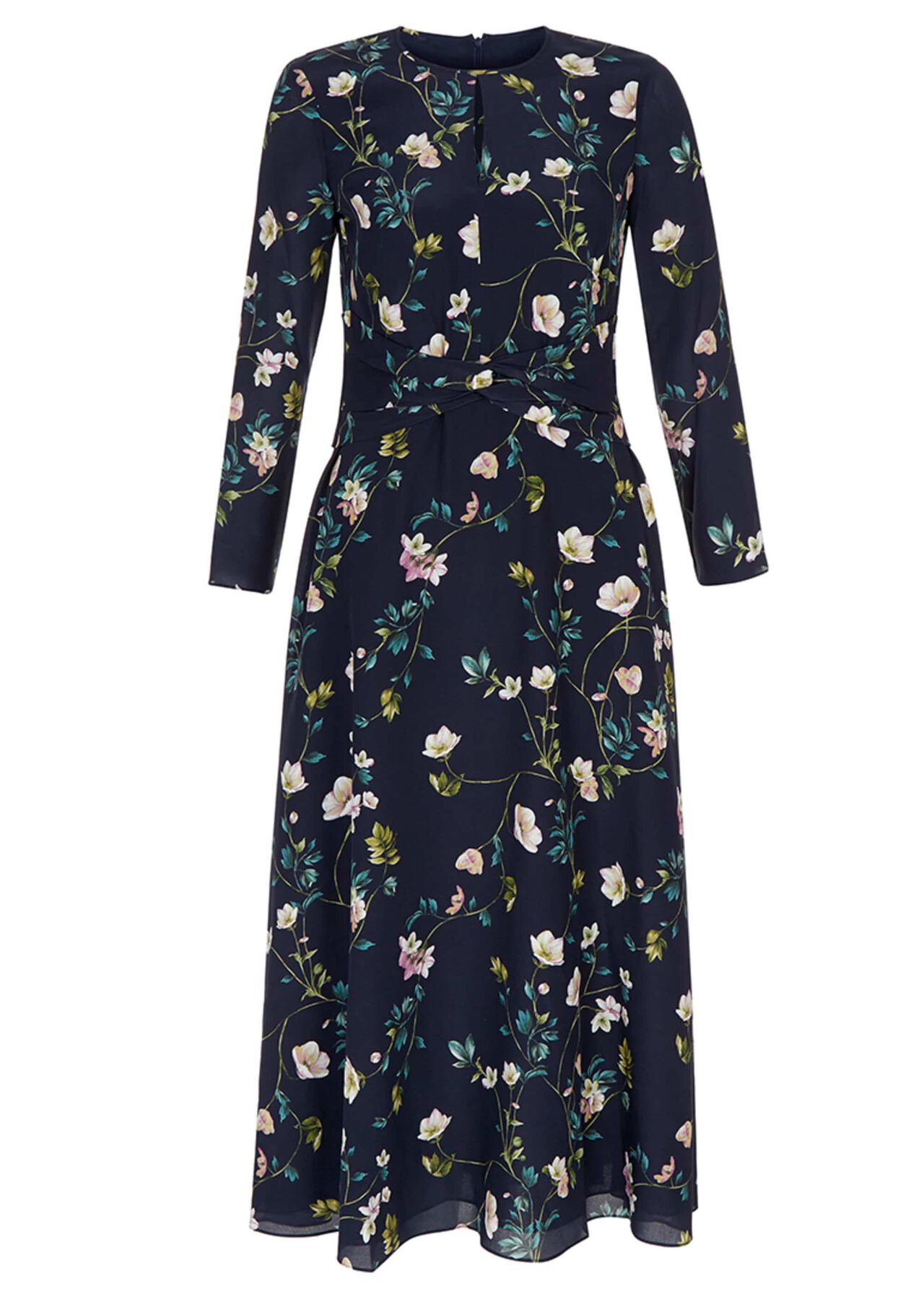 Silk Hellebore Dress Navy