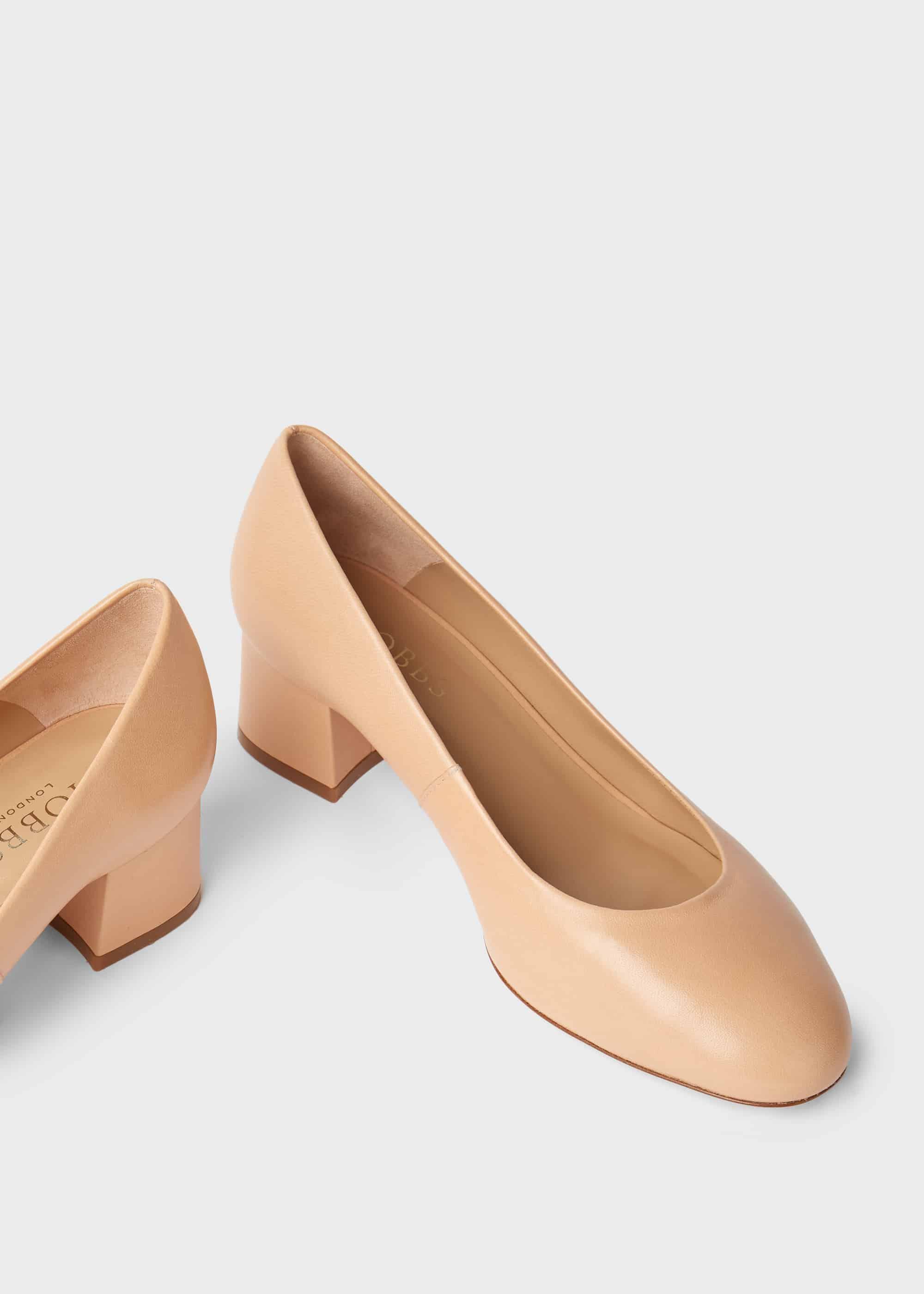 Natalie Wide Fit Leather Block Heel