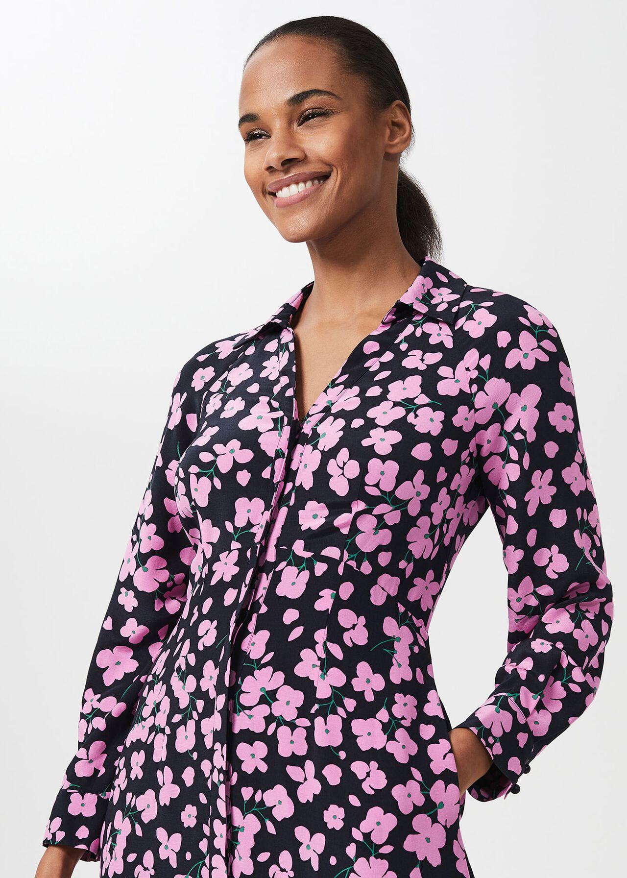 Lulu Floral Midi Dress, Navy Pink, hi-res
