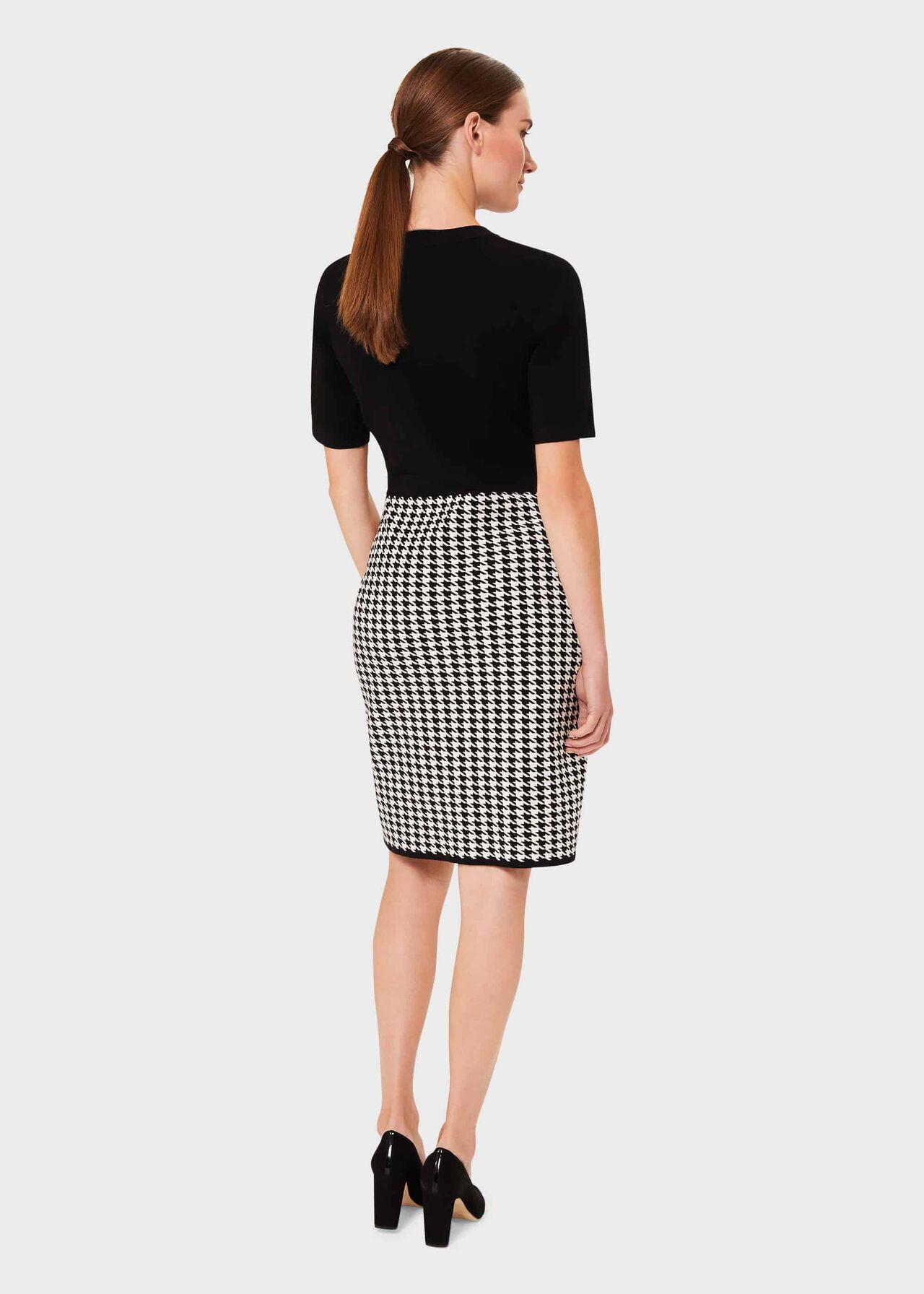 Alena Knitted Dress, Black Ivory, hi-res