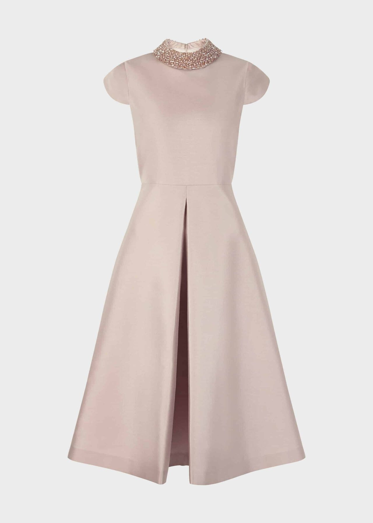 Christie Silk Wool Embellished Dress Oyster