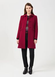 Anita Wool Blend A Line Coat, Dark Raspberry, hi-res