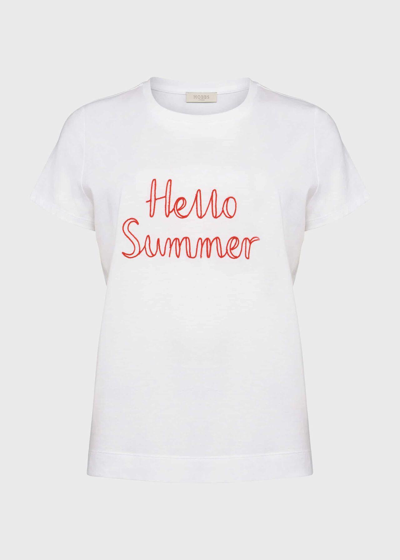 Jamie Slogan T-Shirt, White Coral, hi-res