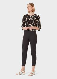 Mallory Cotton Blend Capri Trousers With Stretch, Black, hi-res