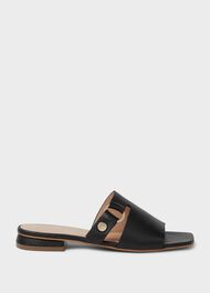 Lily Leather Sandals, Black, hi-res
