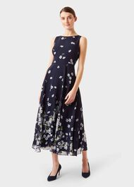 Carly Floral Midi Dress, Midnight Ivory, hi-res