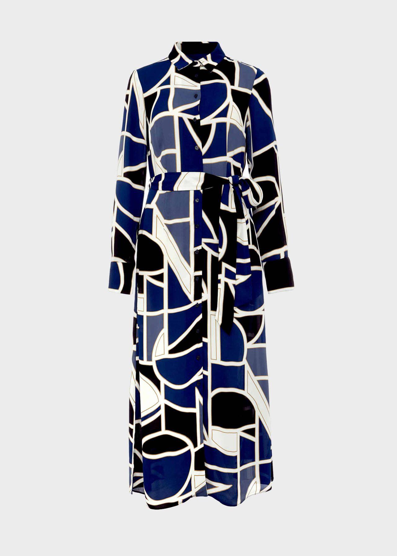 Petite Nadine Geo Midi Dress Blue Multi
