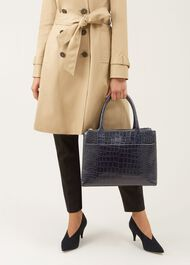 Oxford Tote, Navy Croc, hi-res
