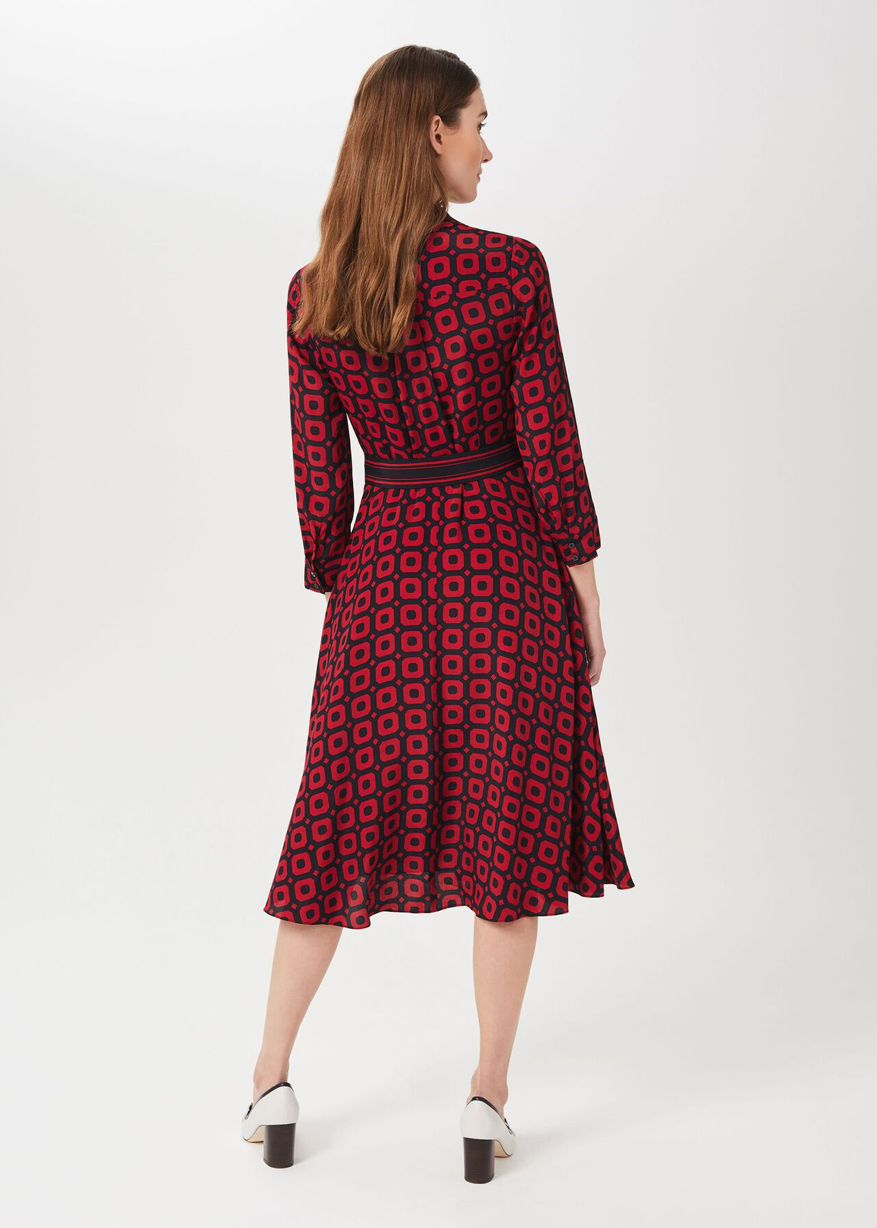Alex Geo Shirt Dress, Red Navy, hi-res
