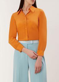 Athena Silk Blouse, Orange, hi-res