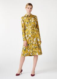 Silk Blend Jasmine Shirt Dress, Ochre, hi-res
