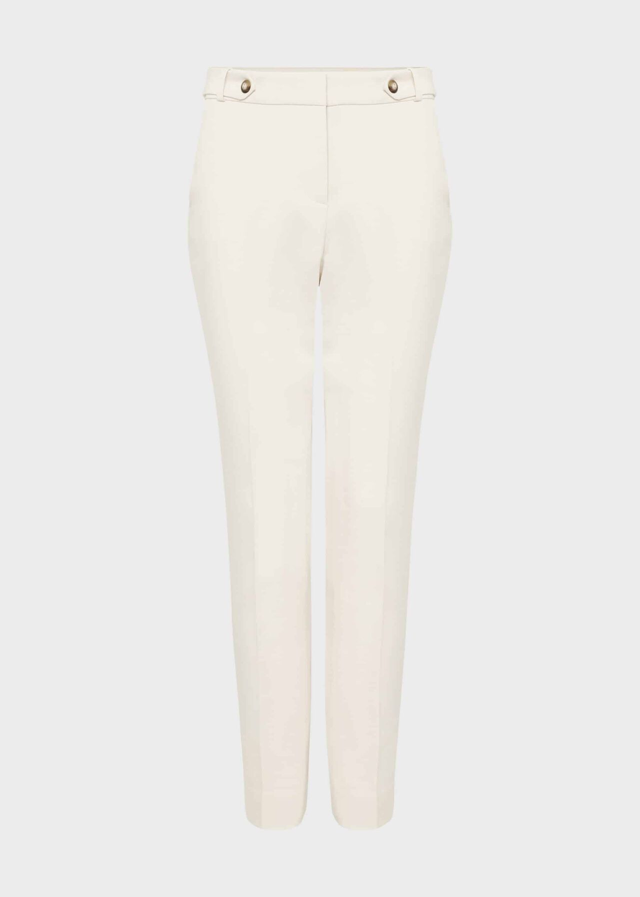 Jasmine Cotton Blend Tapered Trousers Warm Ivory