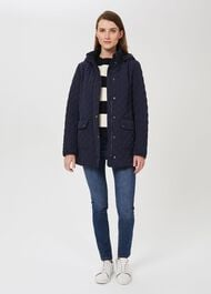 Audra Quilted Coat With Hood, Navy, hi-res