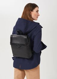 Leather Backpack, Black, hi-res