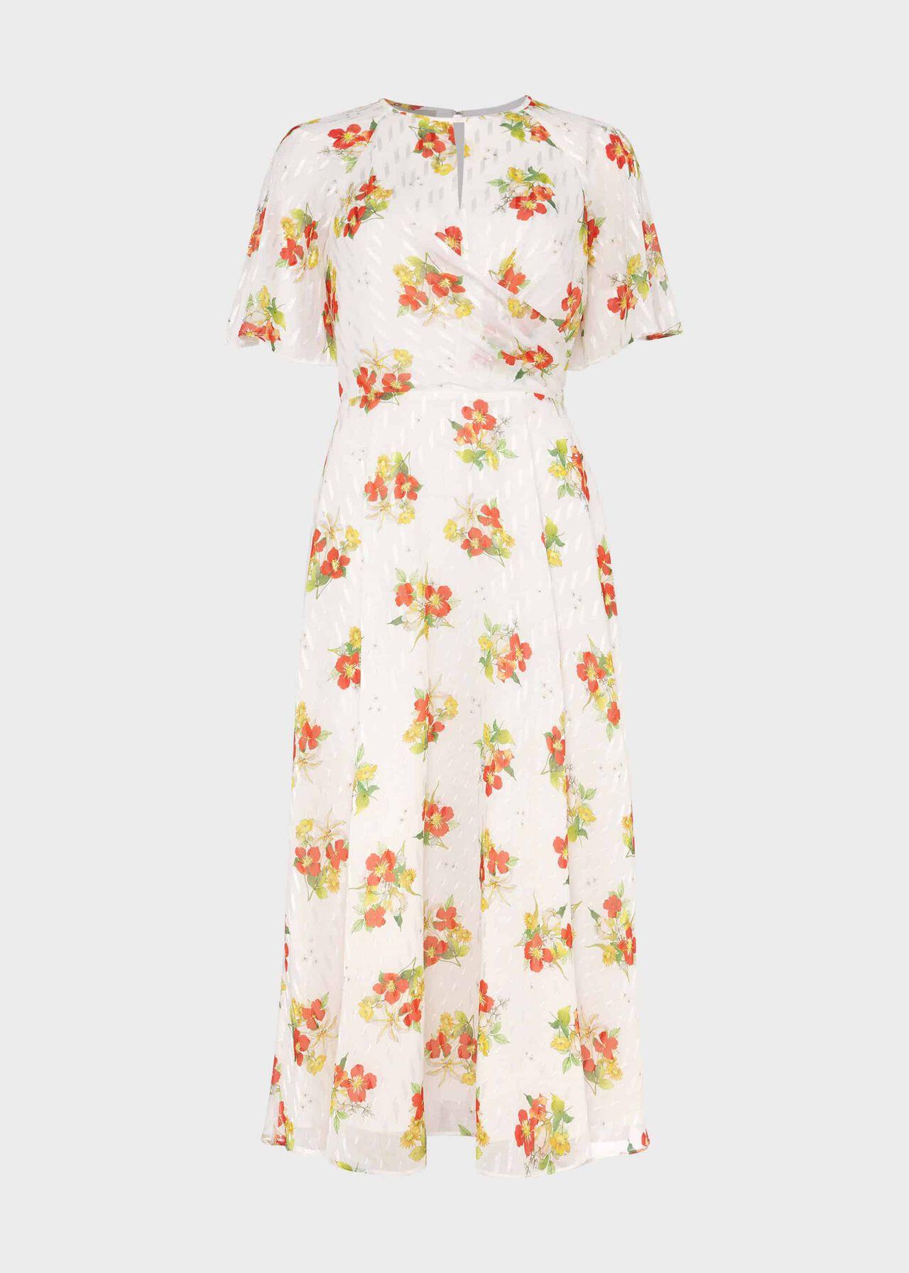 Savannah Floral Jacquard Dress Ivory Multi